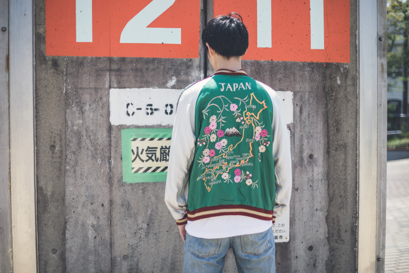 REPRODUCT REVERSIBLE SOUVENIR JACKET 古着コーデ1