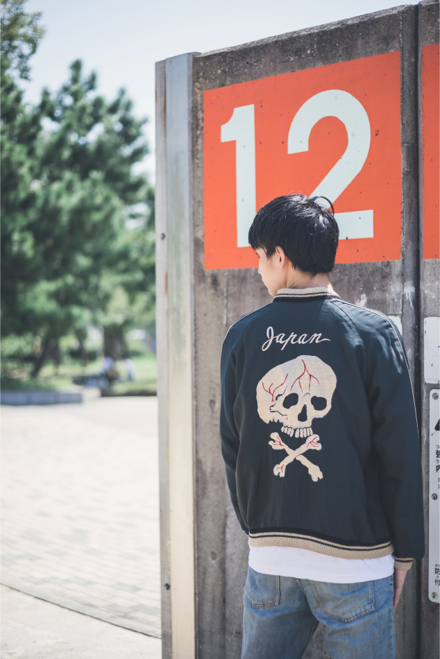 REPRODUCT REVERSIBLE SOUVENIR JACKET 古着コーデ2